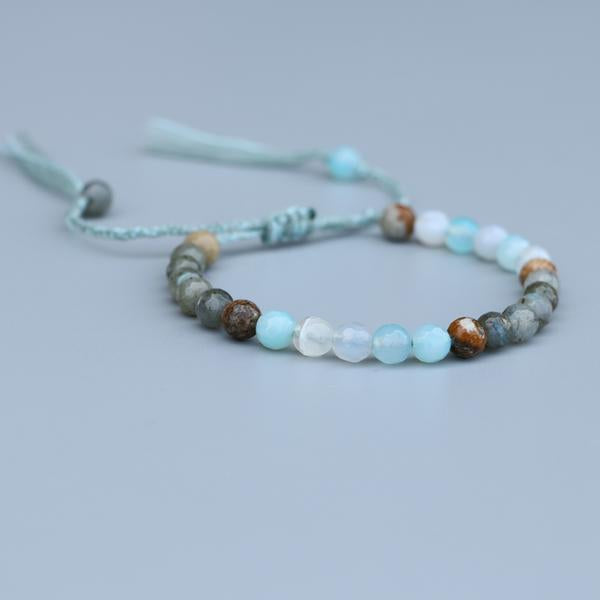 Natural Agate, Jasper And Labradorite Stone Healing Stacking Bracelet