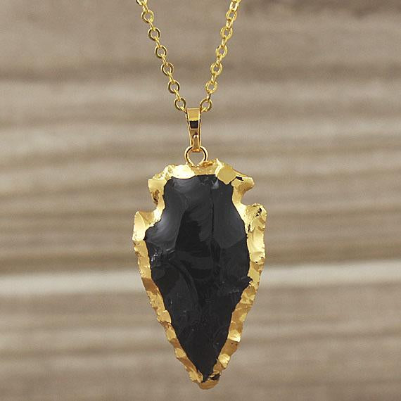 Gold Natural Rough Onyx Arrowhead Necklace