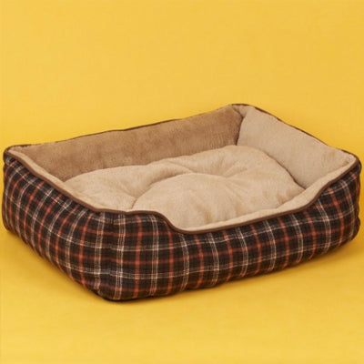 Car Seat Bed Brown and Orange Check