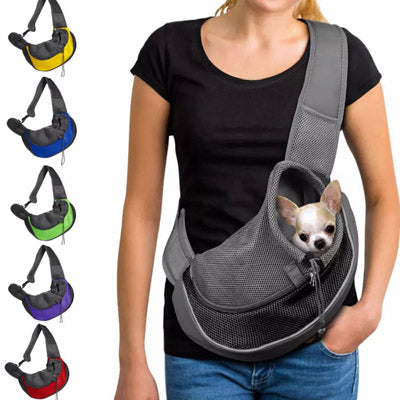 Small Dog Carrier Messenger Style Black Purple & Grey Small