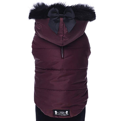 Trilly tutti Brilli XS EMMA Chihuahua Padded Coat Burgundy with Faux Fur Hood Trim Chihuahua Clothes and Accessories at My Chi and Me
