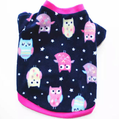 Chihuahua Puppy or Small Dog Fleece Owls Print