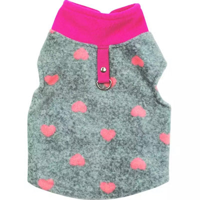 Small Dog Lightweight Fleece Jumper with D Rings For Leash Pink Hearts, Fuchsia and Grey