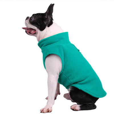 Chihuahua or Small Dog Fleece Jumper with D Rings For Leash Teal