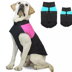 Gilet Style Dog Coat Water Resistant Black And Blue Padded Jacket