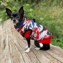 Premium Union Camouflage Red and Navy Water Resistant Padded Gilet Style Dog Coat