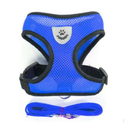 Cute blue harness and lead set in breathable mesh with black binding and a silver shield shaped paw print branding breast patch.  Supplied with a coordinating webbing lead with a small corrosion resistant metal clip that swivels through 360 degrees, this is the perfect set for a great price.   SIZES