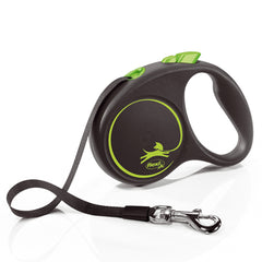 Flexi Black Retractable Extending Medium Dog Lead 5 Metre Tape with Non Chew Strap