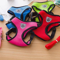 Breathable Mesh Chihuahua or Small Dog Harness and Lead Set Blue 3 Sizes