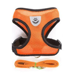 Breathable Mesh Chihuahua or Small Dog Harness and Lead Set Orange - 3 SIZES
