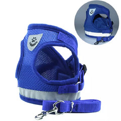 Small Dog Vest Harness and Lead Set Blue Mesh Reflective - My Chi and Me