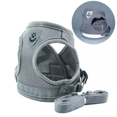Small Dog Vest Harness and Lead Set Grey Mesh Reflective - My Chi and Me