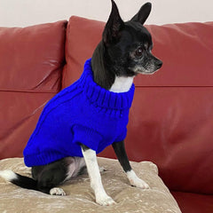 Small Dog Chihuahua Soft Cobalt Blue Cable Knit Puppy Jumper 5 SIZES