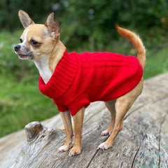 Small Dog Chihuahua Soft Red Cable Knit Puppy Jumper 5 SIZES