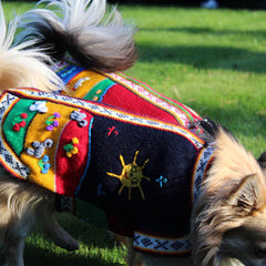 Size 3 Hand Embroidered Peruvian Dog Jumper Midnight Blue Red Yellow and Green 26cm Chihuahua Clothes and Accessories at My Chi and Me
