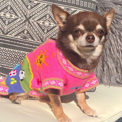 Size 2 Hand Embroidered Peruvian Dog Jumper Bubblegum Pink 23cm