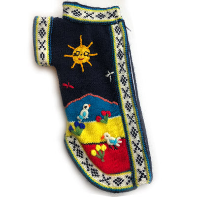 Size 3 Hand Embroidered Peruvian Dog Jumper Nazcar Nights Navy and Turquoise 24cm