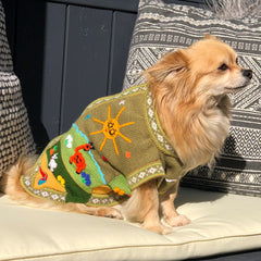 Size 2 Hand Embroidered Peruvian Dog Jumper Olive Green & Ochre 23cm