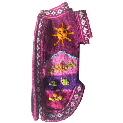Size 3 Hand Embroidered Peruvian Dog Jumper Warm Purple and Lilac 26cm