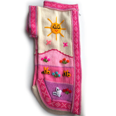 Size 6 Hand Embroidered Peruvian Dog Jumper Rainbow Mountain Pink 31cm
