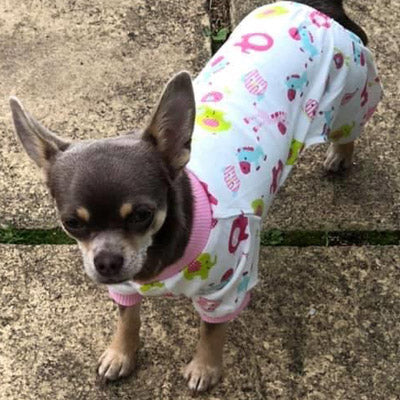 Chihuahua Small Dog Pyjamas Onesie Style Owls Horses Elephants Print Cotton Pink Chihuahua Clothes and Accessories at My Chi and Me