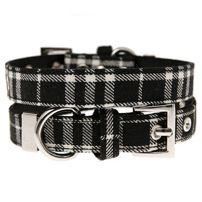 Black and White Tartan Collar by Urban Pup Chihuahua Clothes and Accessories at My Chi and Me
