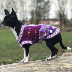 Size 3 Hand Embroidered Peruvian Dog Jumper Purple 25cm