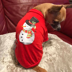 Chihuahua Small Dog T Shirt Christmas Snowman Festive Design Chihuahua Clothes and Accessories at My Chi and Me
