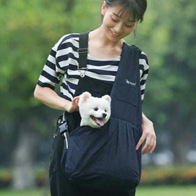 Dog Carrier Across Body Sling Black Canvas