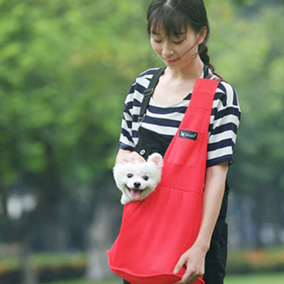 Dog Carrier Across Body Sling Red Canvas 2 Sizes