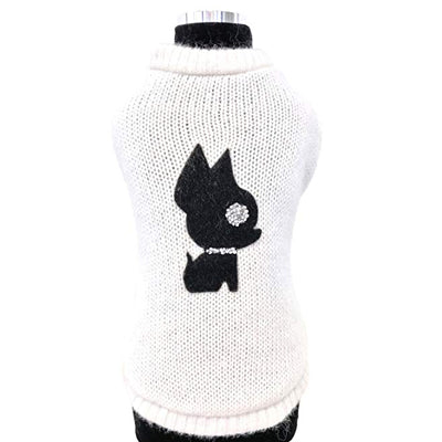 Trilly Tutti Brilli IRINA Medium Winter White Wool Chihuahua Sweater with Chihuahua Applique
