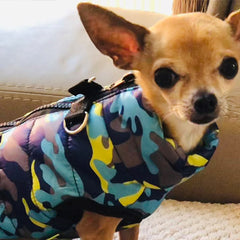 Premium Marine Camouflage Water Resistant Padded Gilet Style Dog Coat Chihuahua Clothes and Accessories at My Chi and Me