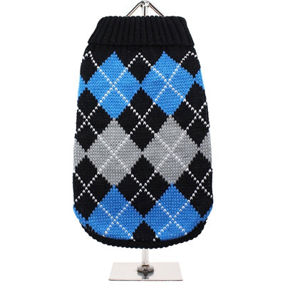 Urban Pup Chihuahua or Small Dog Argyle Jumper Blue and Black