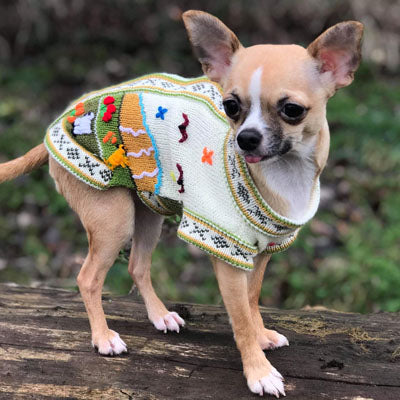 NEW Size 3 Hand Embroidered Peruvian Dog Jumper Cream and Green 27cm Chihuahua Clothes and Accessories at My Chi and Me