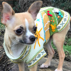 Size 2 Hand Embroidered Peruvian Dog Jumper Cream and Green 24cm Chihuahua Clothes and Accessories at My Chi and Me
