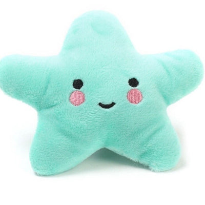 Twinkle Chihuahua or Small Dog Plush Star Toy with Squeaker Aqua