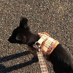 Urban Pup Faux Fur Lined Brown Tartan Small Dog Vest Harness - My Chi and Me