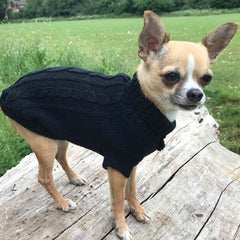 Small Dog Chihuahua Soft Black Cable Knit Puppy Jumper 5 SIZES Chihuahua Clothes and Accessories at My Chi and Me