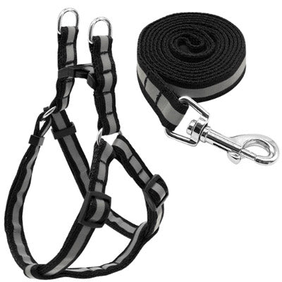 Reflective Chihuahua Harness and Lead Black Strong Webbing