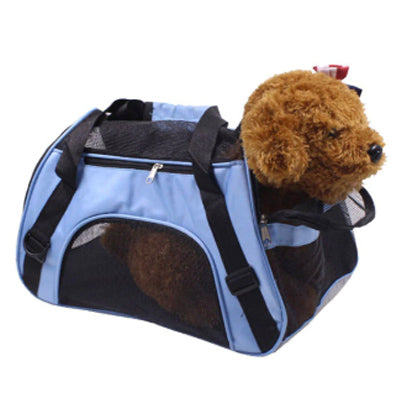 Holdall Style Chihuahua Pet or Small Dog Carrier Medium Blue