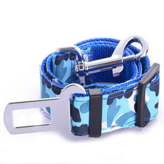 Premium Dog Seat Belt With Clip Blue Camouflage - My Chi and Me