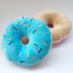 Blue Frosted Donut Chihuahua or Small Dog Plush Toy with Squeaker Chihuahua Clothes and Accessories at My Chi and Me
