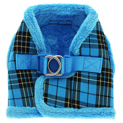 Urban Pup Faux Fur Lined Tartan Chihuahua or Chihuahua Puppy Vest Harness Blue Chihuahua Clothes and Accessories at My Chi and Me