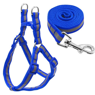 blue reflective harness and lead set with fully adjustable straps and matching leash for chihuahuas and small dogs