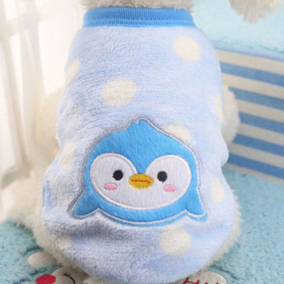 Chihuahua Puppy Fluffy Blue and White Spot Vest with Penguin Motif 5 Sizes - My Chi and Me