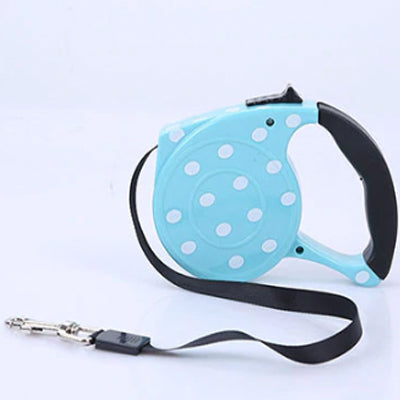 Comfort Grip Retractable Extending Chihuahua or Small Dog Lead Polka Dot Blue Chihuahua Clothes and Accessories at My Chi and Me