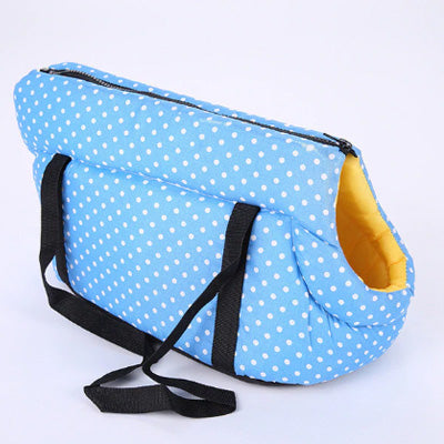 Padded Travel Shoulder Bag Sky Blue White Polka Dot Dog Carrier - My Chi and Me