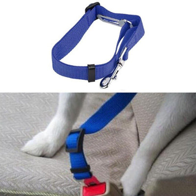 Dog Seat Belt With Clip Blue