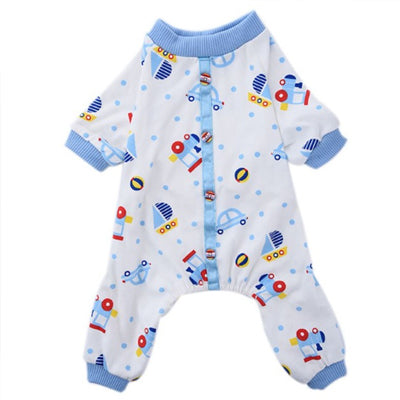 Chihuahua Small Dog Pyjamas Onesie Style Blue Transport Print Cotton Chihuahua Clothes and Accessories at My Chi and Me