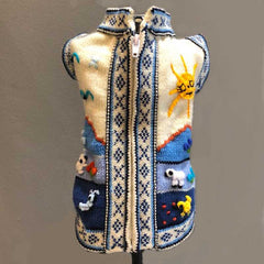 Size 1 Hand Embroidered Peruvian Dog Jumper Mid Blue and White 23cm Chihuahua Clothes and Accessories at My Chi and Me